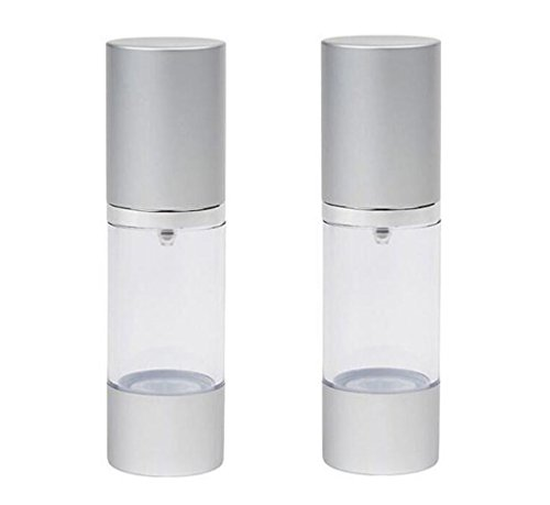 Shadow Pots Eye Mousse (2PCS Clear 30ml 1oz Empty Upscale Refillable Plastic Airless Pump Bottles Make Up Cream Lotion Toner Cosmetic Toiletries Liquid Storage Containers Jar Pots With Silver Cap)