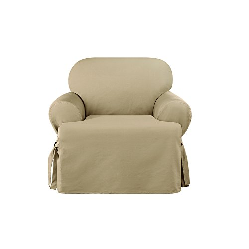 Cotton Floral Slipcover - Sure Fit Heavyweight Cotton Duck One Piece Chair Slipcover - Khaki