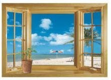 Ocean View Faux Window Beach Tropical Blue Sea Removable Wall Decor Decal - Window Seascape Faux