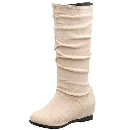 SJJH Women Knee-High Wedge Boots Beige