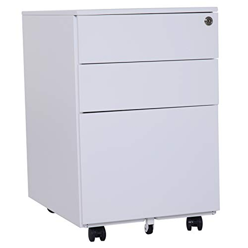 "(Vinsetto 24"" Metal 3 Drawer Locking Under Desk Filing Cabinet On Wheels - White)"