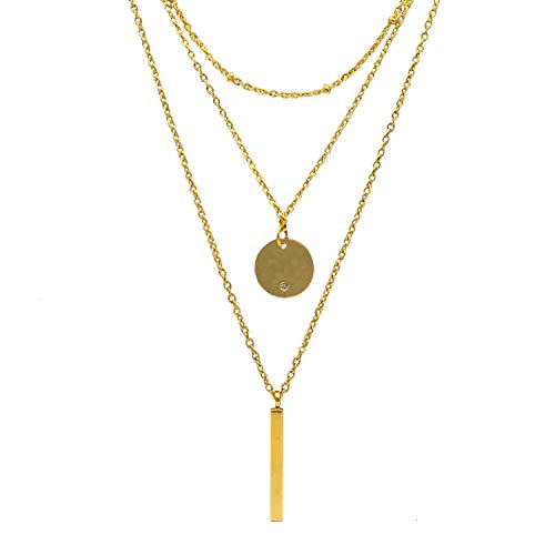 Avery and May Dainty Trio Multilayer Choker Drop Circle Bar Fashion Pendant Necklace for Women, 14K Yellow Gold ()