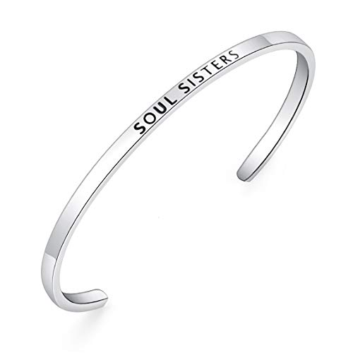 BESTTERN Inspirational Bracelet Cuff Bangle Mantra Quote Keep Going Stainless Steel Engraved Motivational Friend Encouragement Jewelry Gift for Women Teen Girls Sister (Thin-Soul Sisters)