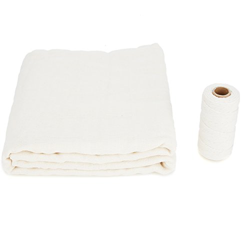 45 sq.ft Unbleached Cheesecloth (5 Yards) and 328 ft Cotton Natural Cooking Twine Set for Filter, Strain, Nut Milk Bag, Reusable
