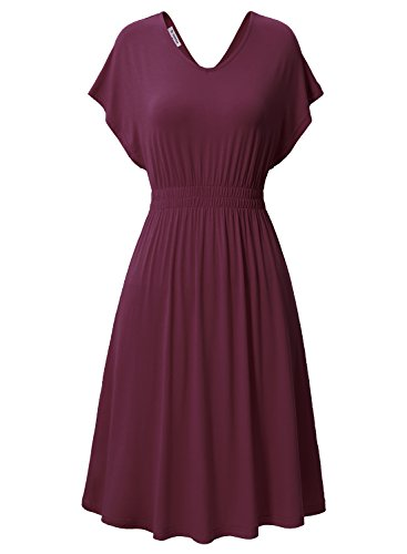 Fit and Flare Dresses, Women Summer V-Neck Short Sleeves Flowy Casual Maroon Midi Dresses (Wine Red, XL)