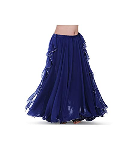 Women Belly Dance Costume 2 Layers Full Slit Skirt Arrival Belly Dance Skirt Dress,Blue]()