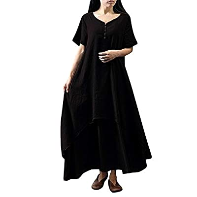 Muranba Womens Dresses Casual Daily Plus Size Short Sleeve Soild Splice Lace Long Dress