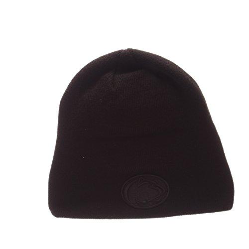 - ZHATS Penn State Nittany Lions Blackout Edge Black Tonal Skull Cap - NCAA Cuffless Winter Knit Beanie Toque Hat