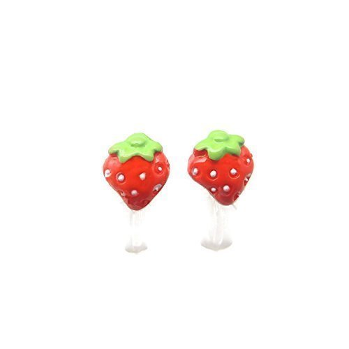 Strawberry Invisible Earrings Metal Free Hypoallergenic product image