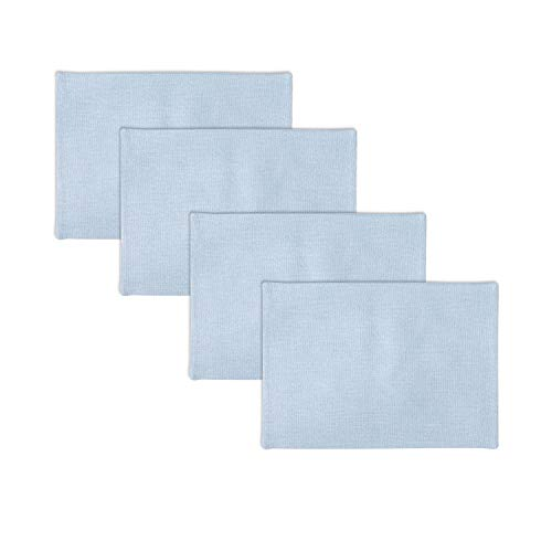 NATUS WEAVER Set of 4 Soft Linen Placemats Heat Resistant Dining Table Place Mats Kitchen Table Mats, Light Blue (Light Blue Placemats)