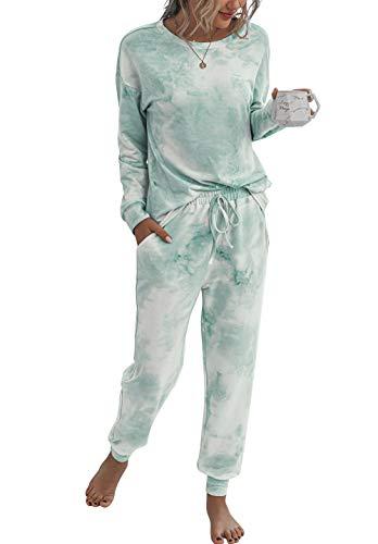 PRETTYGARDEN Women's Tie Dye Two Piece Pajamas Set Long Sleeve Sweatshirt with Long Pants Sleepwear with Pockets