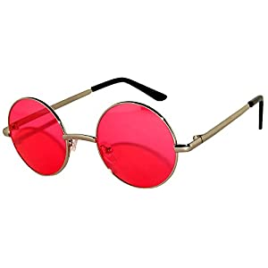 Round Retro Vintage Circle Style Sunglasses Red Lens Silver Metal Frame