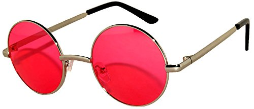 Round Retro Vintage Circle Style Tint Sunglasses Metal Silver Red Lens 43mm OWL]()
