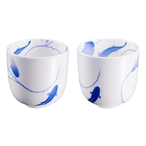 ZENS Japanese Tea Cup 8 oz,Bone China Blue and White Tea Cups Set of 2,Ceramic Tea Mugs without Handles (Handle Traditional Porcelain)