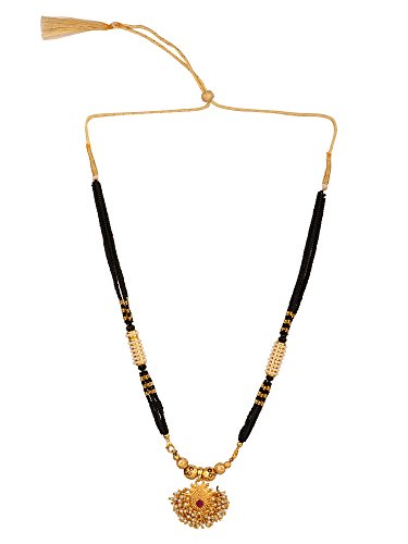 Efulgenz Indian Traditional 14 K Gold Plated Black Beaded Pearl Temple Necklace Jewelry for Women