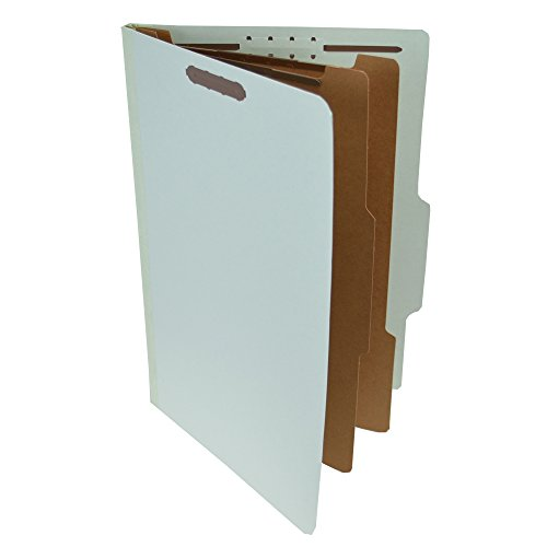Pressboard Classification Partition Folder, 2 Dividers, 2-Inch Expansion, 2/5 Cut Tab, Pale Green, Legal Size, Box of - Folder 14 Classification Expansion