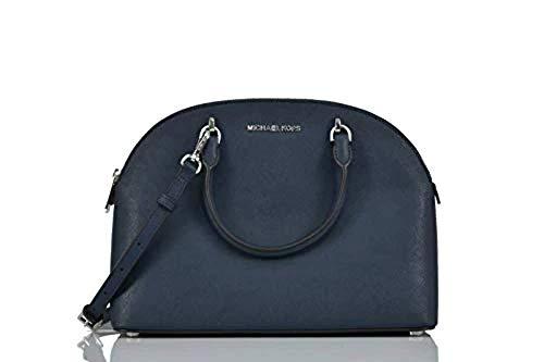michael kors satchel blue | Michael Kors Emmy (Navy) Dome Satchel Saffiano Leather Shoulder Bag Purse Handbag