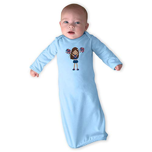 Cheerleader Two Hands Up Brown B Blue Long Sleeve Envelope Neck Boys-Girls Cotton Newborn Sleeping Gown One Piece - Light Blue, Gown Only