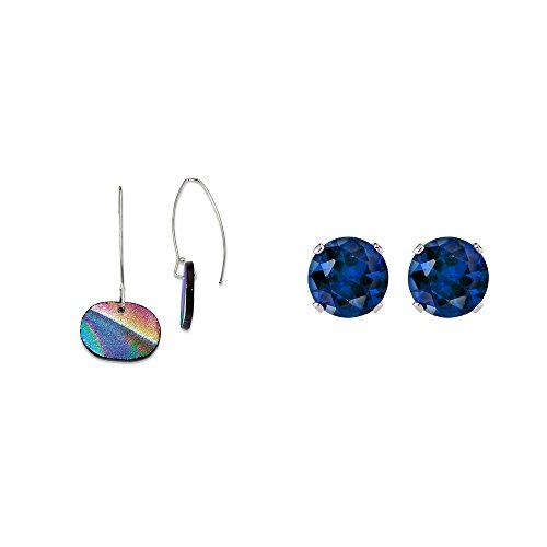 - Sterling Silver Yellow, Blue and Red Dichroic Glass Dangle Earrings and Blue 4mm CZ Stud Earrings
