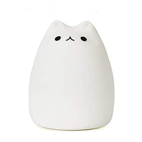 KssFire Portable Cute Kitty LED Children Night Light Silicone LED Multicolor Night Lamp,USB Rechargeable Silicone Soft Baby Nursery Lamp Sensitive Tap Control for Baby Adults Bedroom