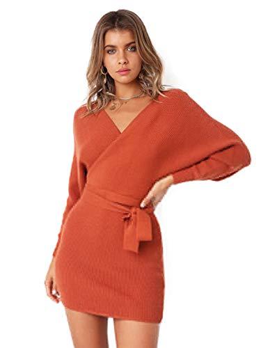- SUNJIN ARCO Women's Sexy Deep V Neck Backless Long Sleeve Wrap Bodycon Pencil Mini Sweater Dresses with Belt (Orange,8)