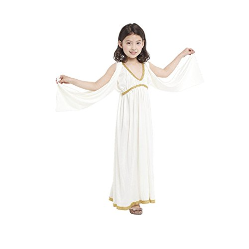 Children's Day Kids Girls Fancy White Egypt Queen Princess Cosplay Costume Long Dress (L)