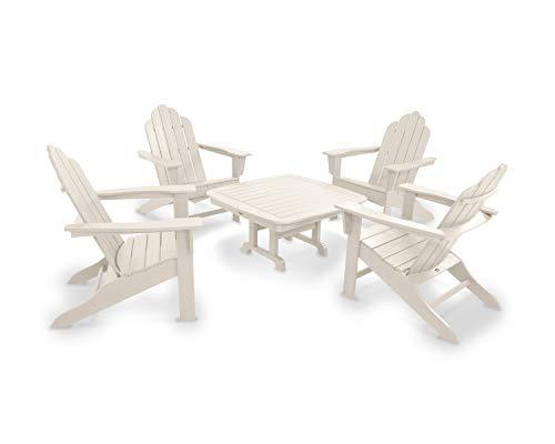POLYWOOD PWS179-1-SA Long Island 5-Piece Conversation Group Adirondack Seating Set, ()