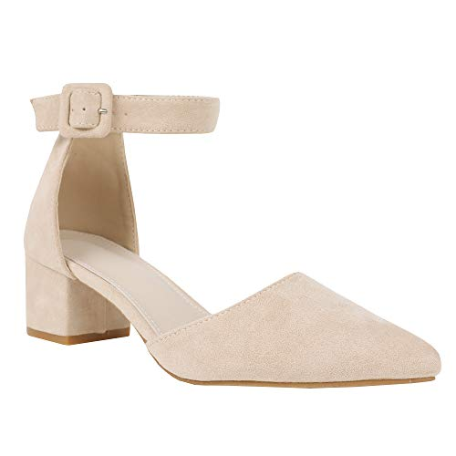 Syktkmx Womens Pointed Toe Pumps Ankle Strap Chunky Mid Heel Suede Sandal Shoes
