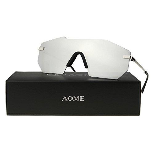 AOME Oversized Futuristic Sunglasses One Piece Rimless Designer Mirror Sunglasses (Silver&Silver, 1.9)