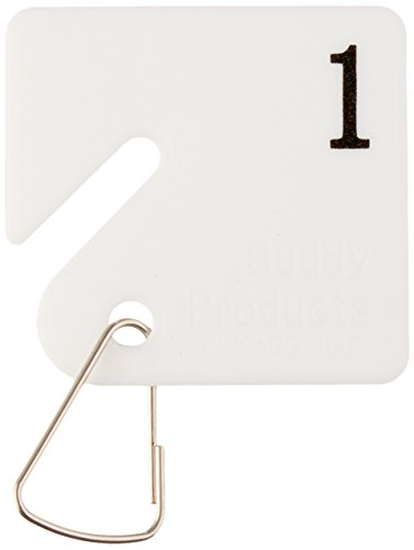 Buddy Products Plastic Key Tags, Numbered 1-30, White (0031) Buddy Plastic Key Tags