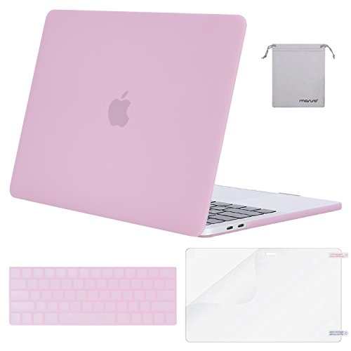MOSISO MacBook Pro 13 Case 2018 2017 2016 Release A1989/A1706/A1708, Plastic Hard Shell & Keyboard Cover & Screen Protector & Storage Bag Compatible Newest Mac Pro 13 Inch, Clear Pink