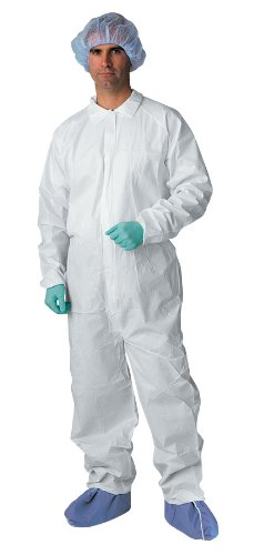 Medline NONCV700L Microporous Breathable Coveralls, Elastic Wrist/Ankle, Large, White (Pack of 25)