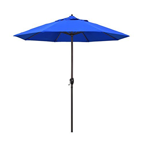 California Umbrella 9' Round Aluminum Market Umbrella, Crank Lift, Auto Tilt, Bronze Pole, Royal Blue (California Pool)