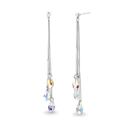- Devin Rose Multi Strand Earrings for Women Made With Aurore Boreale Swarovski Crystals in 925 Sterling Silver