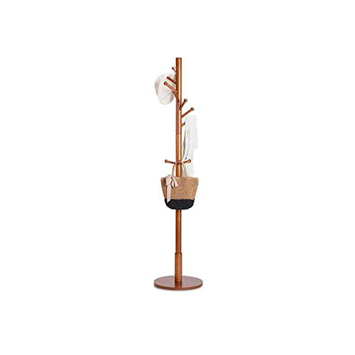 Barture-coat rack Solid Wood Simple Household Bedroom Landing Simple Living Room Creative Clothes Shelf (Color : Chocolate Color)