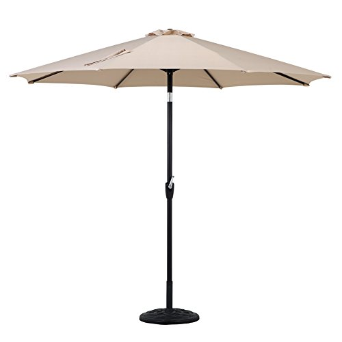 Grand patio Outdoor Market Umbrella with Push Button Tilt and Crank, Patio Umbrella, 9 Ft, Beige