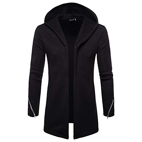 Forthery Clearance Men's Trench Coat with Hood Winter Long Zipper Jacket Overcoat Cardigan(Black, US Size M = Tag L) ()