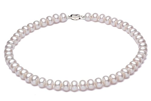 JYX Pearl Choker Necklace Small White 5mm Cultured Freshwater Pearl Necklace for Women 16""