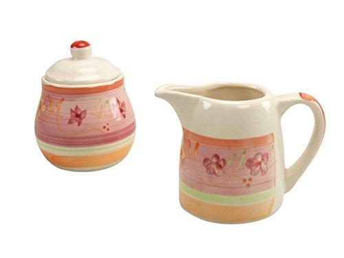 - CREATABLE 18835, Flower Serenade Viva, Milk-and Sugar Set 2 Pieces, Porcelain Multi-Colour, 33 x 23.5 x 19 cm