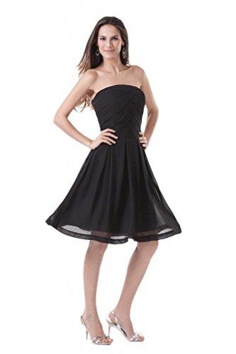 Shengfn Women's Little Chiffon Strapless Knee Length Cocktail Gown Color Black Size 10