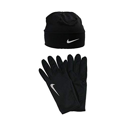Nike Unisex Small S Reflector Running Gloves and Beanie Black Not Applicable