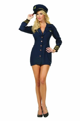 RG Costumes Women's Flight Captain, Navy Blue, (Couples Fancy Dress)