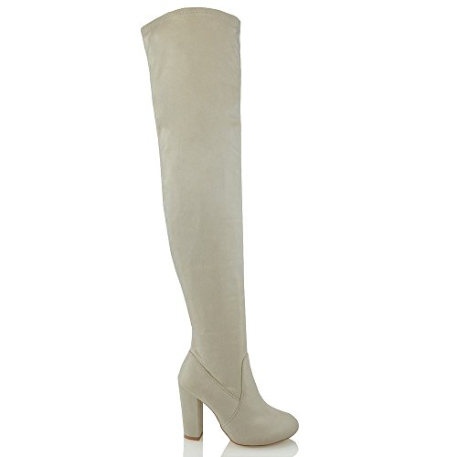 Knee Block Thigh Ladies Nude High Faux Fashion Over High Heel ESSEX Boots GLAM The Stretch Leg Suede Womens YEZqwZvI