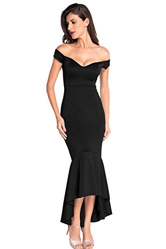 (Astylish Womens Evening Dress Off Shoulder Flouncing Mermaid Formal Prom Gowns Large Black)