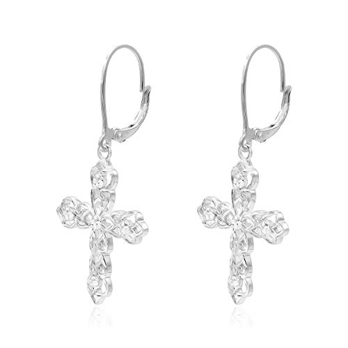 - Sterling Silver Diamond-Cut Filigree Cross Leverback Dangle Drop Earrings