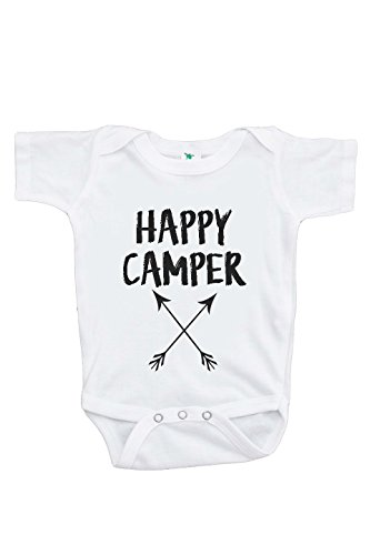 7 ate 9 Apparel Baby's Happy Camper Outdoors Onepiece 0-3 Months Black