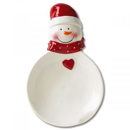 Snowman Spoon Rest- Ceramic Christmas Spoon Rest (Holiday Spoon Rest)