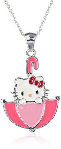 "Hello Kitty Girls Sterling Silver Enamel Umbrella Pendant Necklace, 18"""