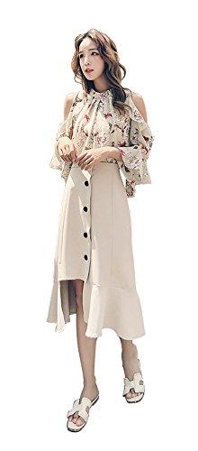 関与するマウンド芸術的[HIMOE] シフォン ブラウス 花柄 トップス 夏 レディース 肩だし フレア袖 マーメイドスカート スリットスカート ロング フィッシュテールスカート 2点セット (Sサイズ, ベージュスカートセット)