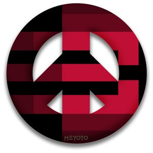 Peace Symbol Removable Sticker of Red and Black College Colors by MEYOTO LLC